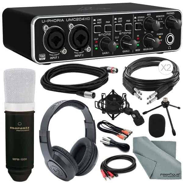 Behringer U-PHORIA UMC204HD Platinum Bundle - Home Recording Studio Package Kit