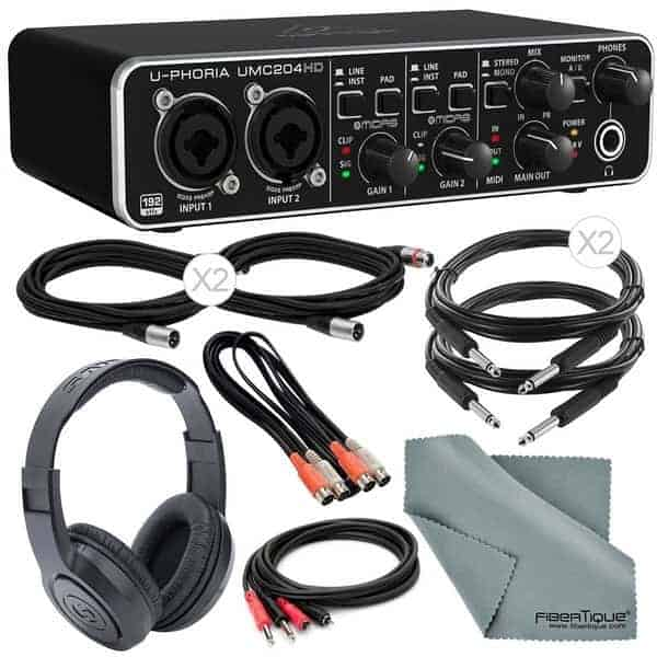 Behringer U-Phoria UMC204HD USB Audio/MIDI Interface Deluxe Bundle - Home Studio Recording Package/Kit