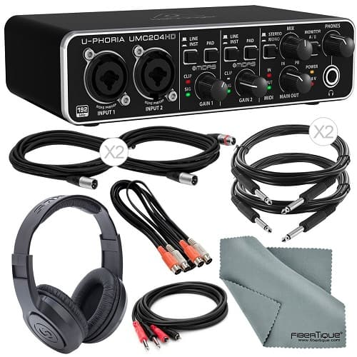 Behringer U-Phoria UMC204HD USB Audio/MIDI Interface Deluxe Bundle