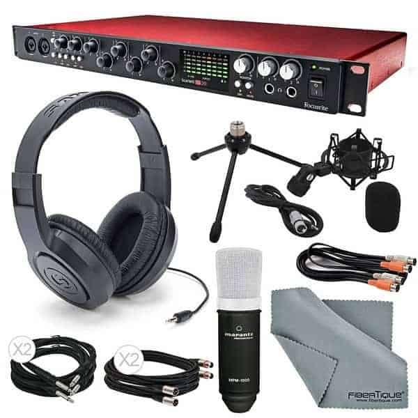 Focusrite Scarlett 18i20 USB 2.0 Audio Interface Deluxe Kit - Home Studio Recording Kit/Package