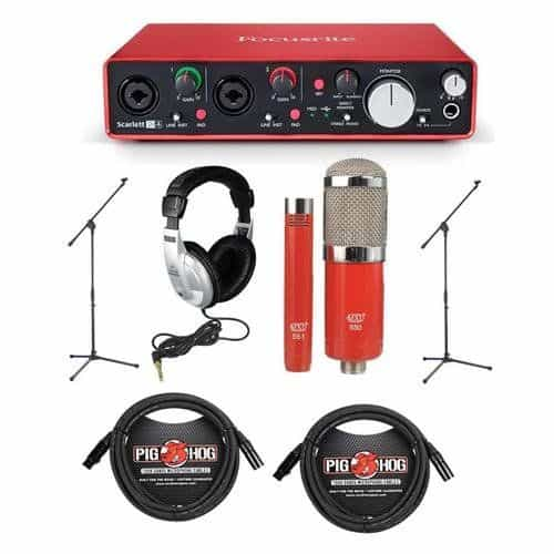 Focusrite Scarlett 2i4 2nd Gen Audio Interface Bundle - home studio recording kit