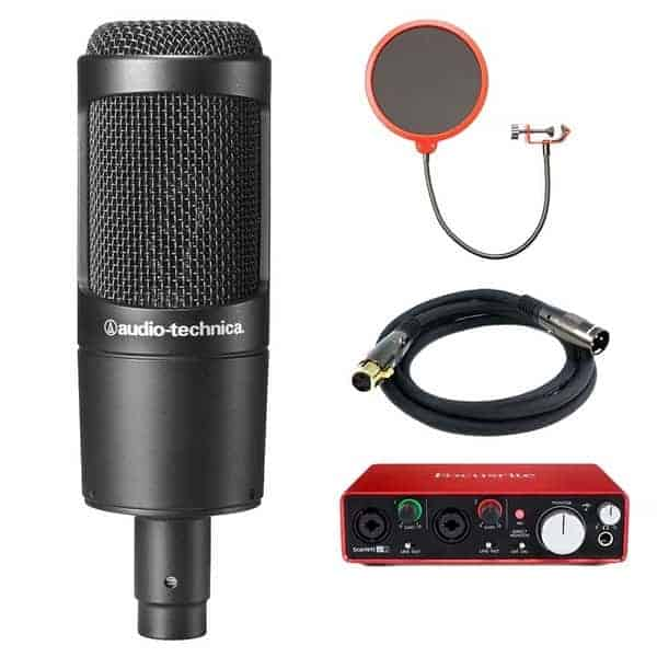Scarlett USB Audio interface & Audio-Technica (AT2035) Microphone Bundle - Home Recording Studio Package