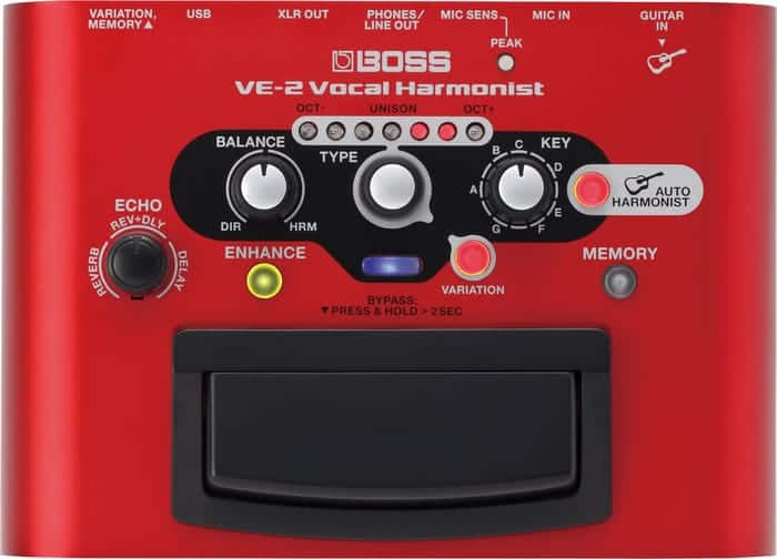 Boss VE-2 Vocal Harmonist - Frontside of Unit's Interface