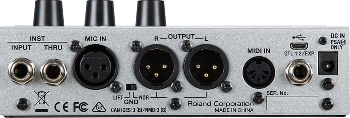 Boss VE-500 Vocal Performer - Back of Interface