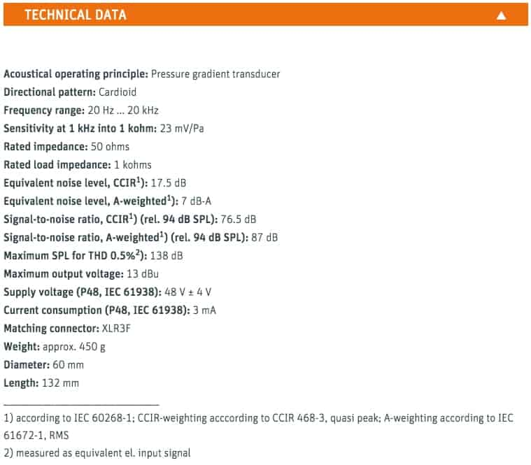 Neumann TLM 103 Technical Specifications