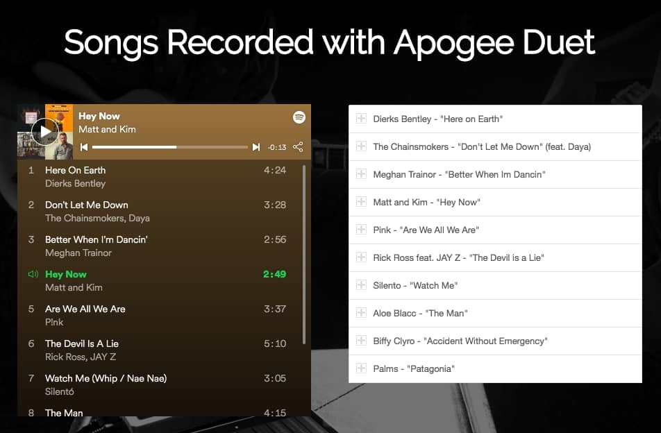 Songs recorded using the Apogee Duet Audio Interface