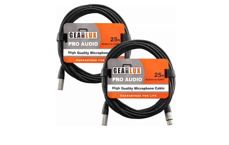 Gearlux XLR Microphone Cable Male to Female 25 Ft Fully Balanced Premium Mic Cable 2 Pack