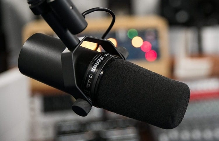 shure microphone in stand